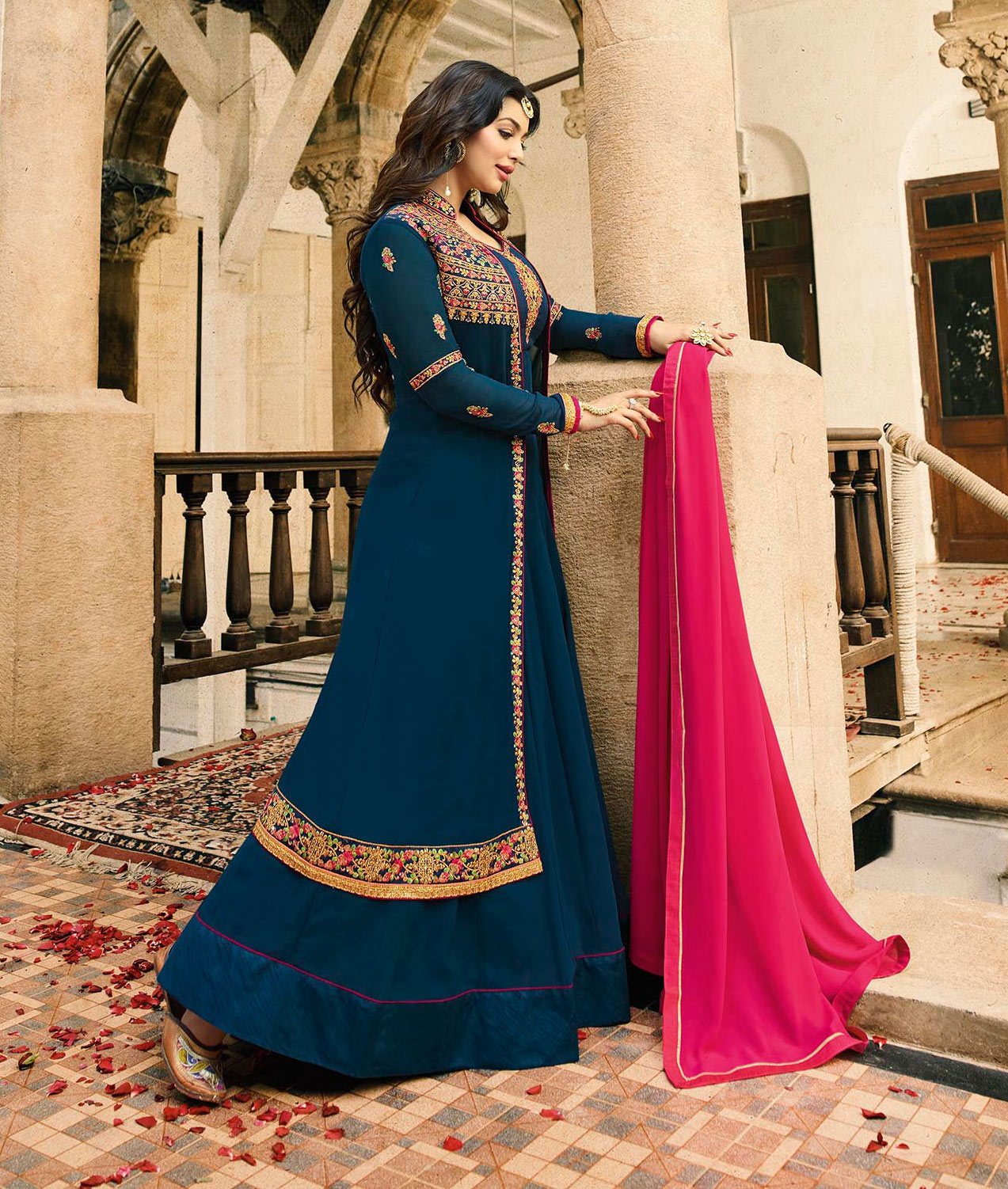 Charming Navy Blue Embroidered Work Party Wear Georgette Anarkali Suit