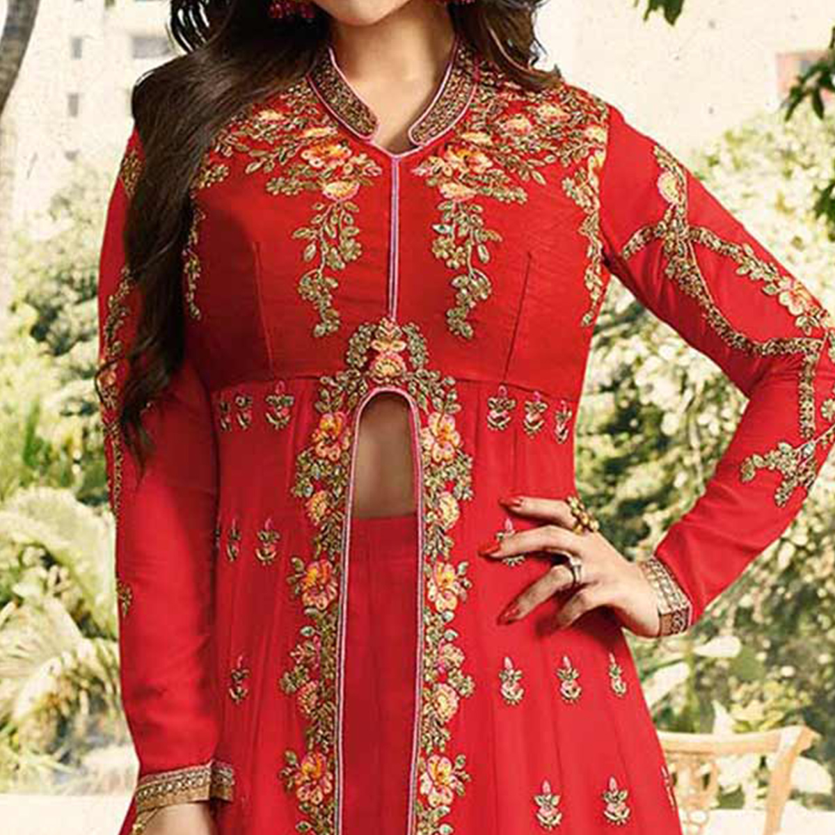 Amazing Red Embroidered Work Party Wear Faux Georgette Lehenga Kameez