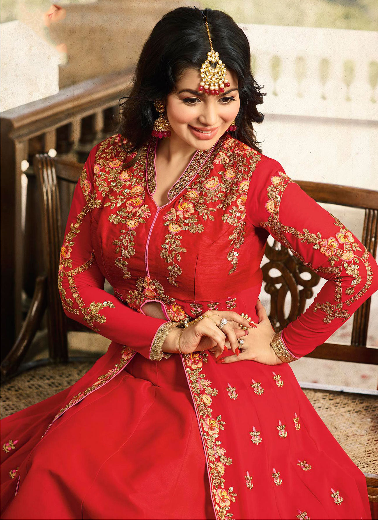Amazing Red Embroidered Work Party Wear Georgette Lehenga Kameez