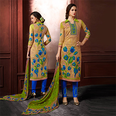 Beige-Blue Colored Casual Wear Printed Cambric Cotton Dress Material
