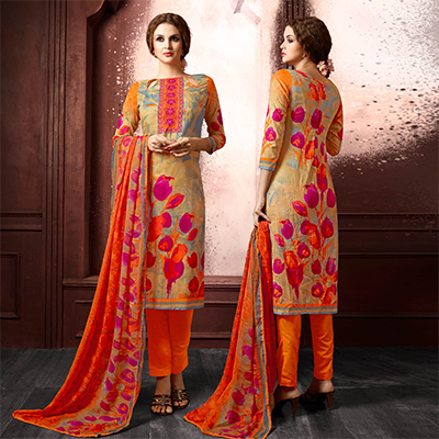 Beige-Orange Colored Casual Wear Printed Cambric Cotton Dress Material