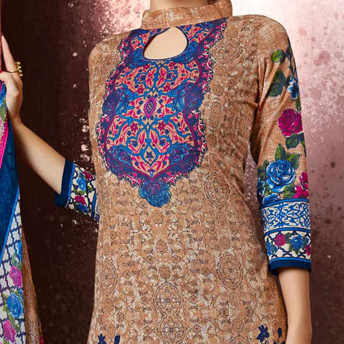 Dark Beige Colored Casual Wear Printed Cotton Dress Material