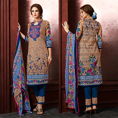 Dark Beige Colored Casual Wear Printed Cambric Cotton Dress Material