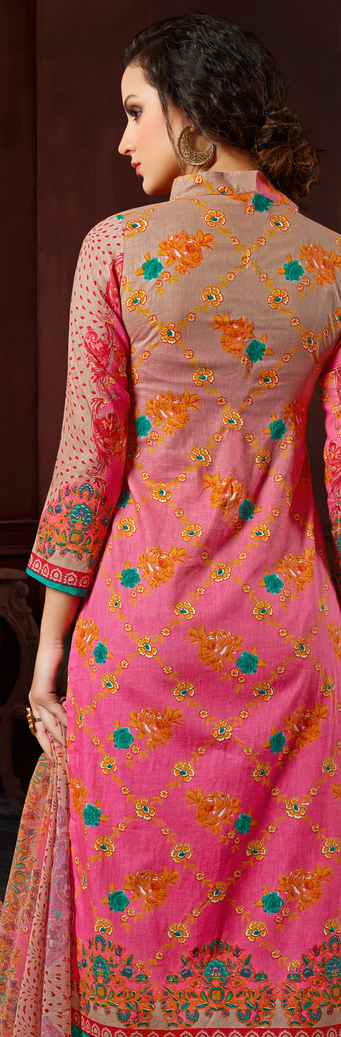 Beige-Pink Colored Casual Wear Printed Cotton Dress Material