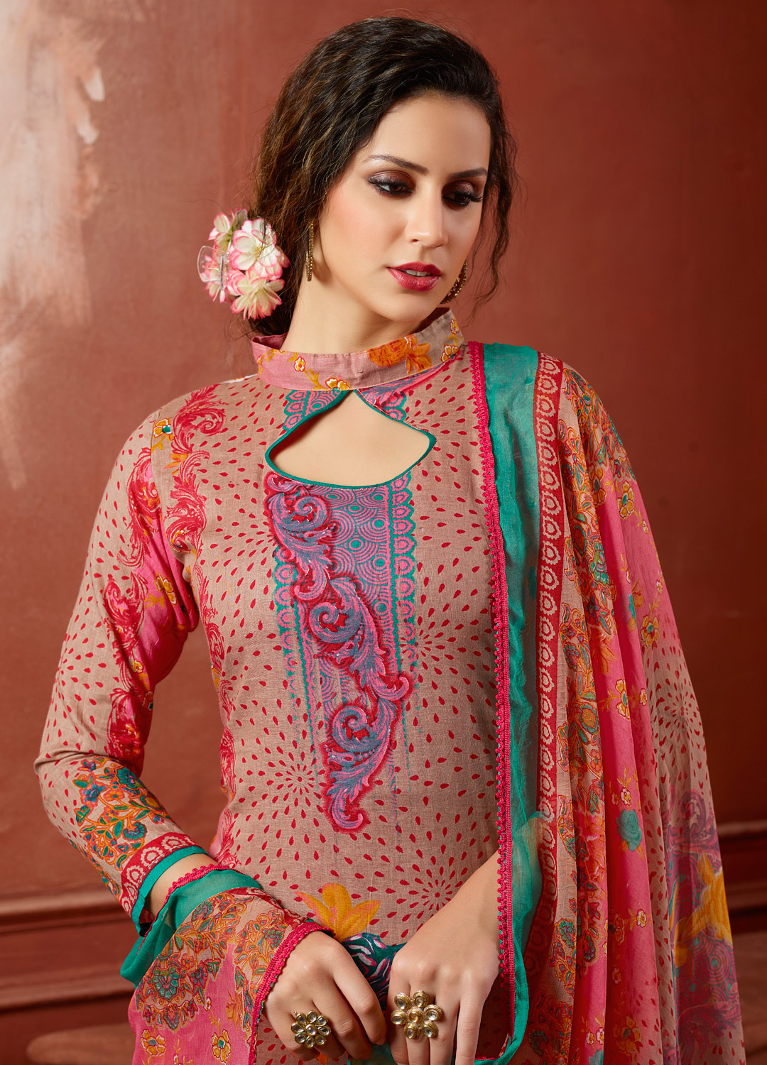 Beige-Pink Colored Casual Wear Printed Cambric Cotton Dress Material
