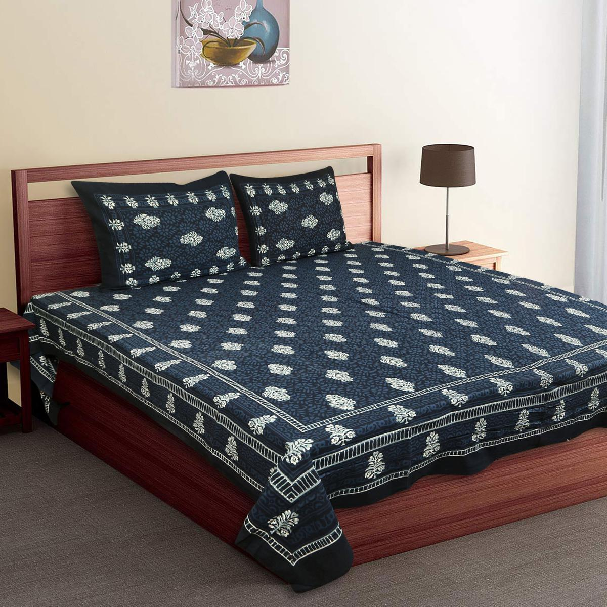 Diva Collection - Dark Blue King Size Cotton Bedsheet With 2 Pillow Cover