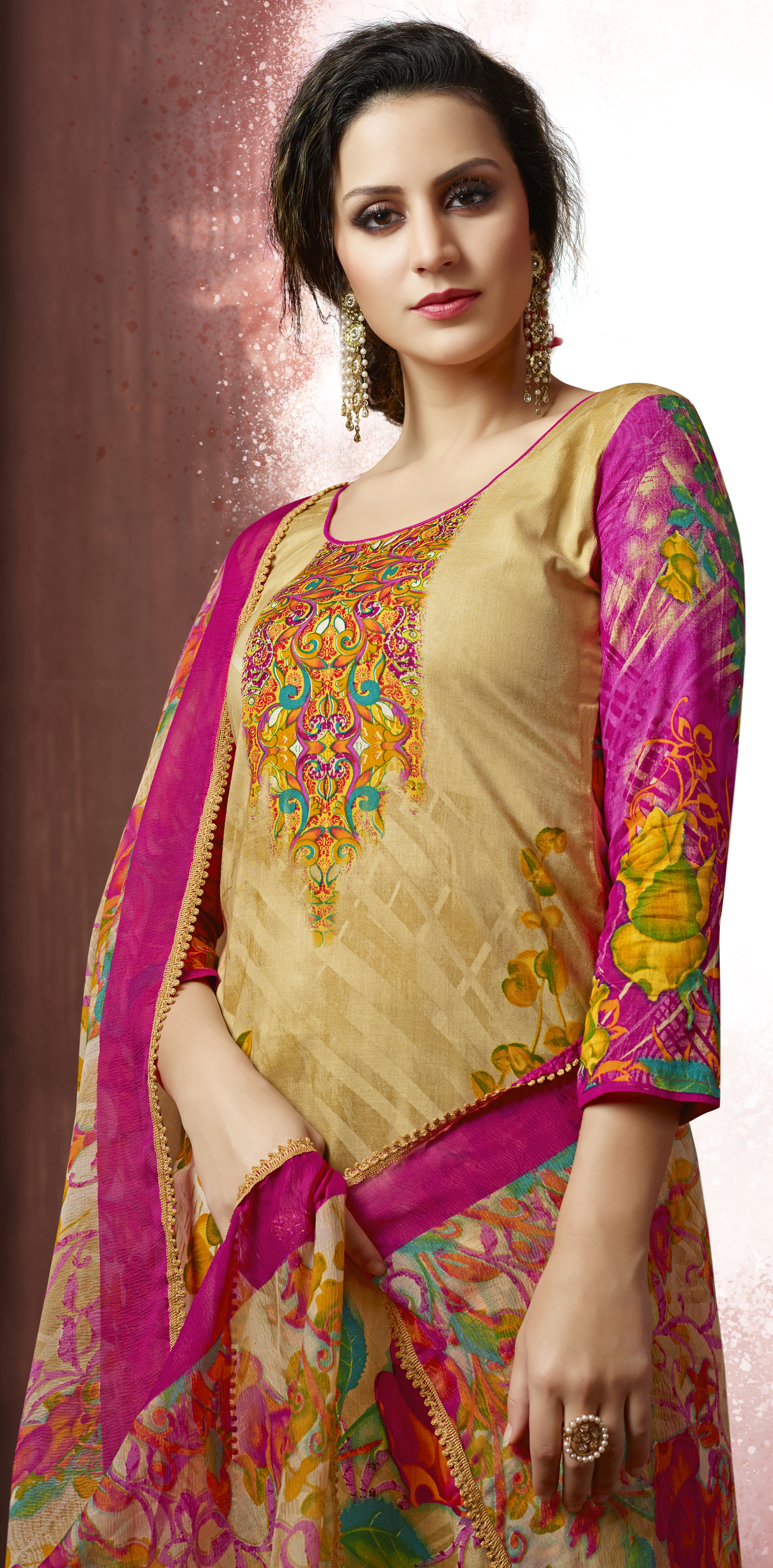 Beige-Green Colored Casual Wear Printed Cotton Dress Material