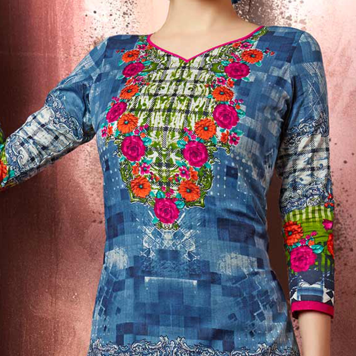 Blue Colored Casual Wear Printed Cotton Dress Material