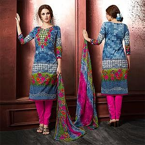 Blue Colored Casual Wear Printed Cambric Cotton Dress Material