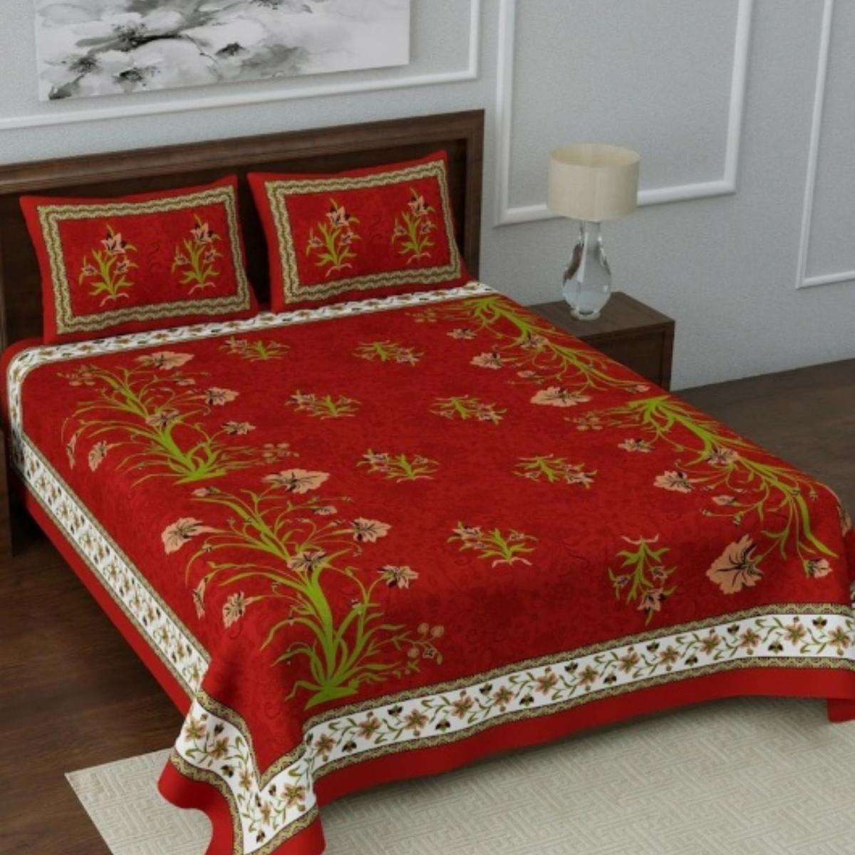 Diva Collection - Red Queen Double Size Cotton Bedsheet With 2 Pillow Cover