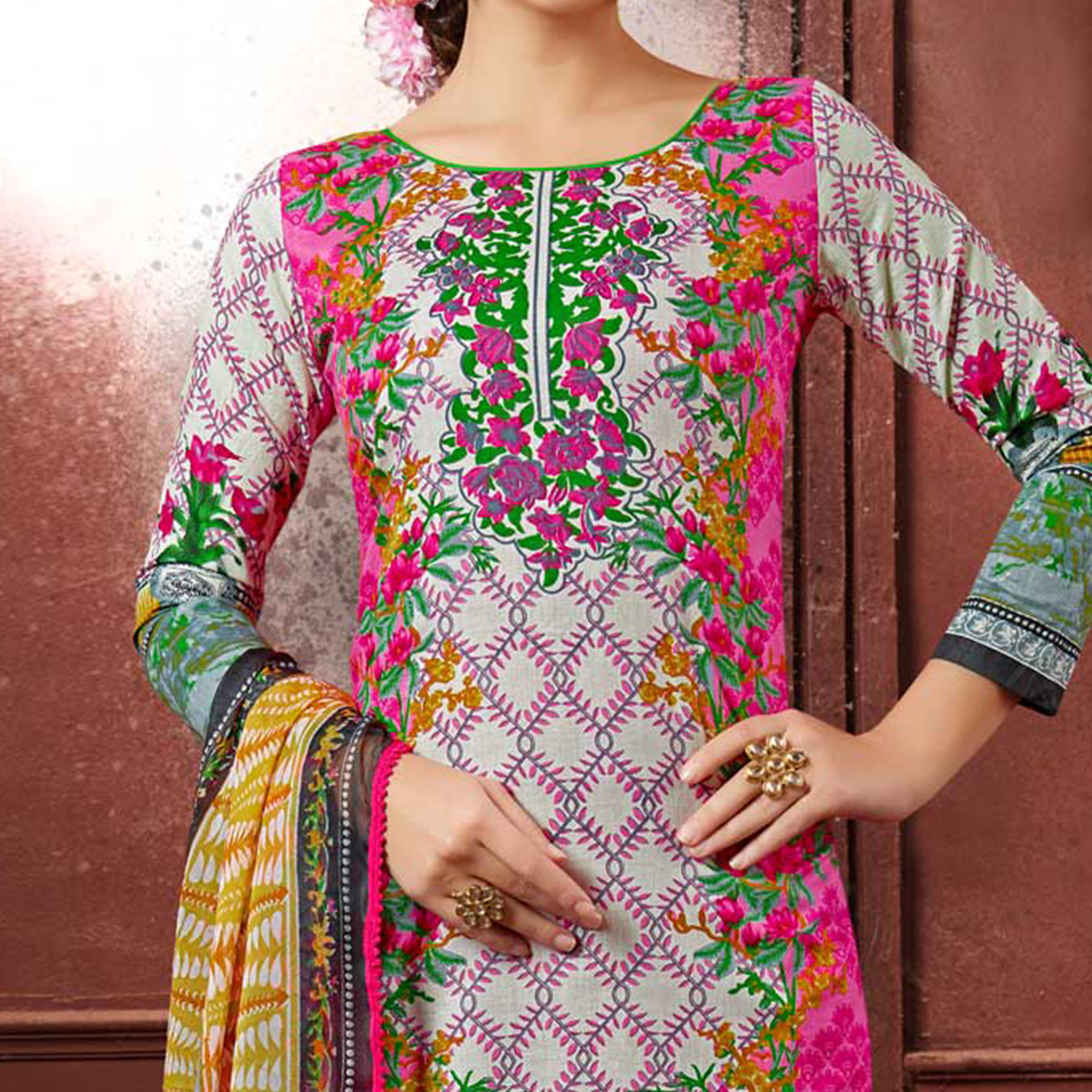 Multicolored Colored Casual Wear Printed Cotton Dress Material