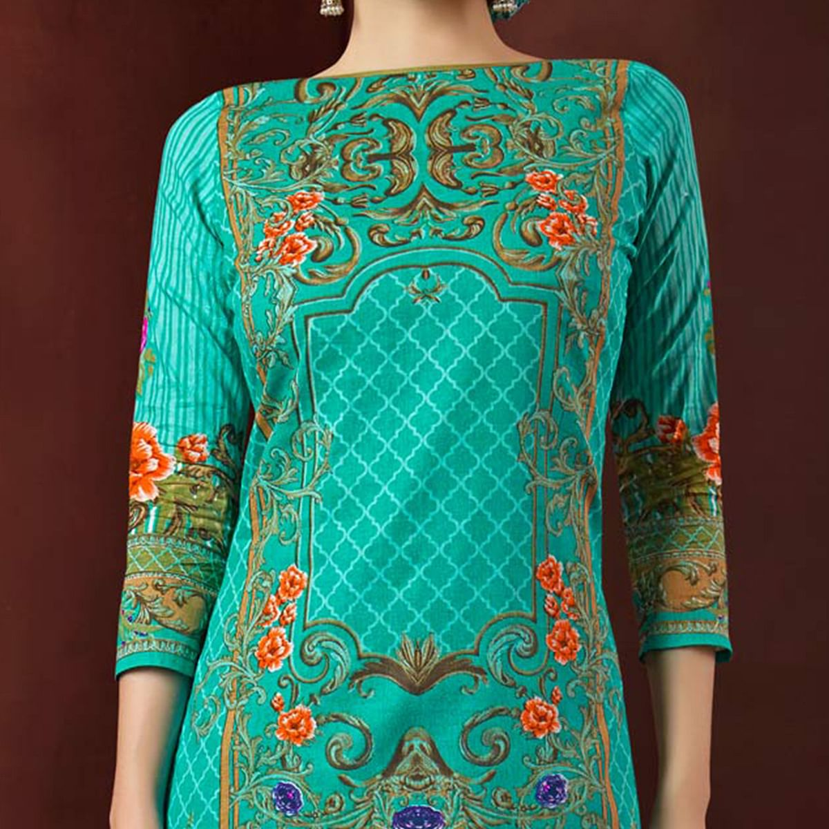 Rama Green Colored Casual Wear Printed Cambric Cotton Dress Material