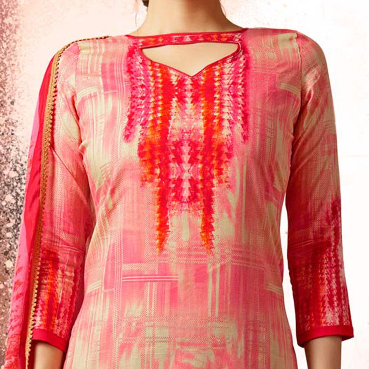 Pink Colored Casual Wear Printed Cotton Dress Material