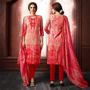 Pink Colored Casual Wear Printed Cambric Cotton Dress Material