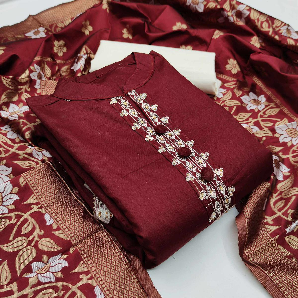 Maroon Casual Wear Floral Embroidery Glass Cotton Dress Material