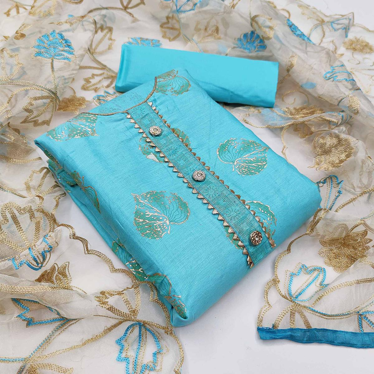 Sky Blue Festive Wear Floral Embroidery With Hand Work Glass Cotton Dress Material