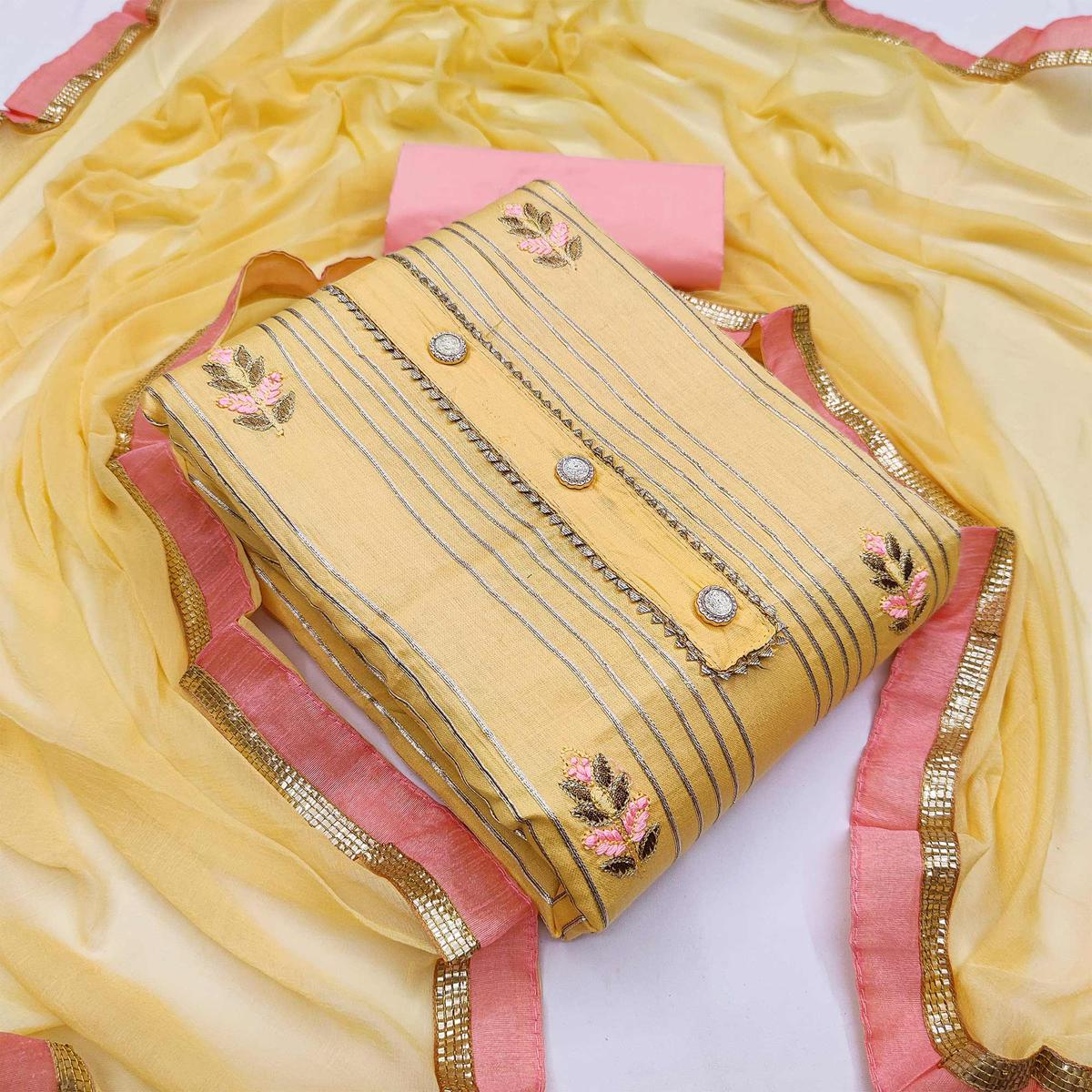 Yellow Casual Wear Floral Embroidery With Hand Work Glass Cotton Dress Material