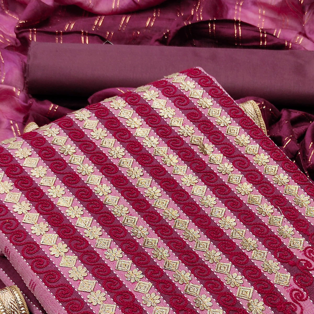 Wine Festive Wear Embroidery With Hand Work Premium Pure Cotton  Dress Material