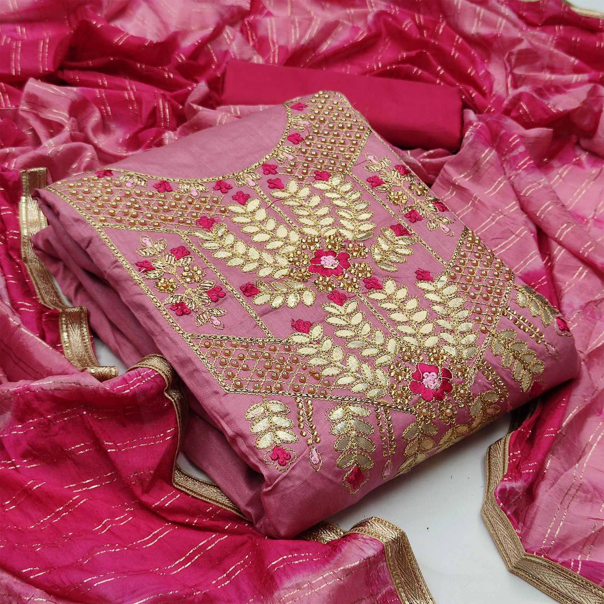 Light Pink Festive Wear Floral Embroidery With Hand Work Glass Cotton Dress Material