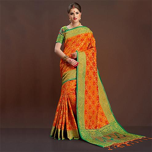 Attractive Orange Colored Festive Wear Silk Woven Saree