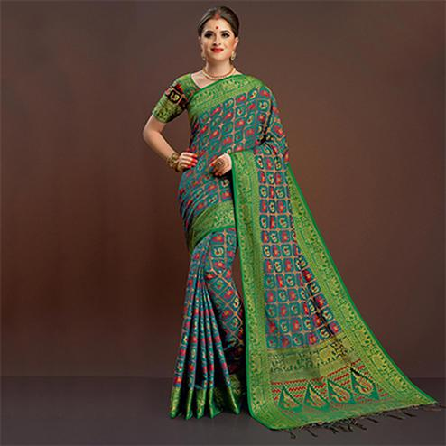 Traditional Teal Colored Festive Wear Silk Woven Saree