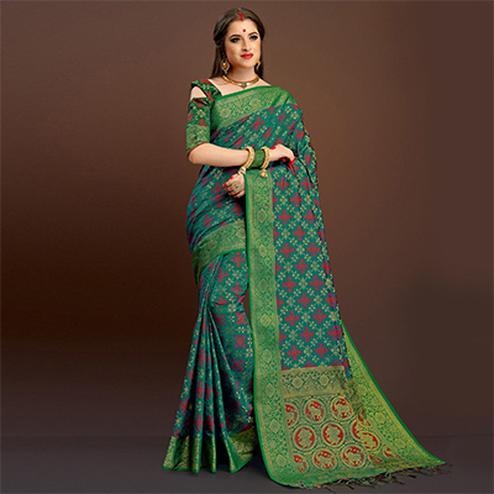 Unique Teal Colored Festive Wear Silk Woven Saree