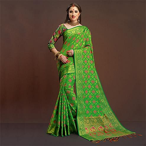 Leaf Green Colored Festive Wear Silk Woven Saree