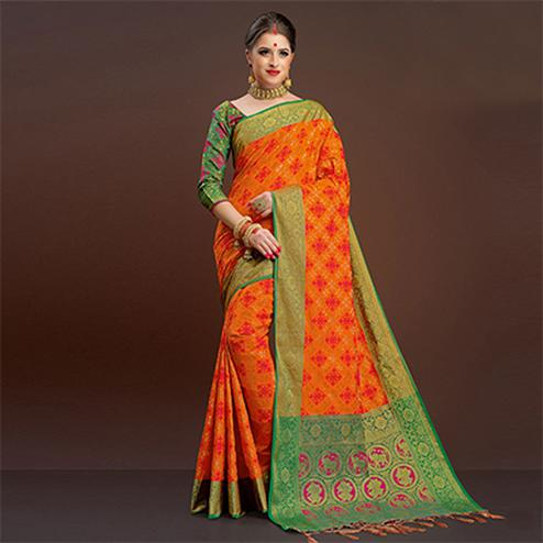 Beautiful Orange Colored Festive Wear Silk Woven Saree