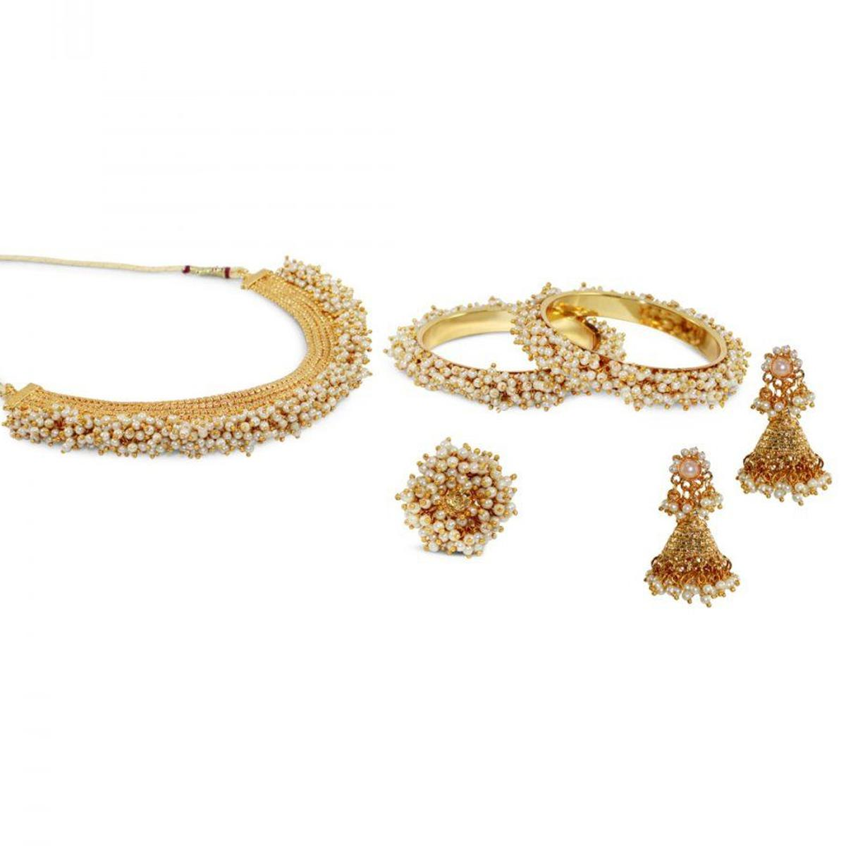 ZaffreCollections - Rajwadi Necklace Set with Ring and Bangles for Women and Girls