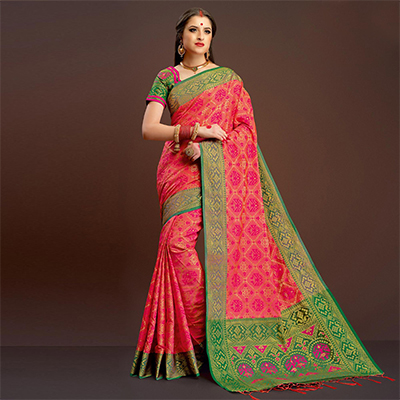 Dazzling Pink Colored Festive Wear Silk Woven Saree