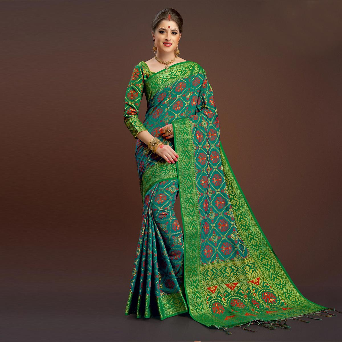 Bold Green Colored Festive Wear Silk Woven Saree