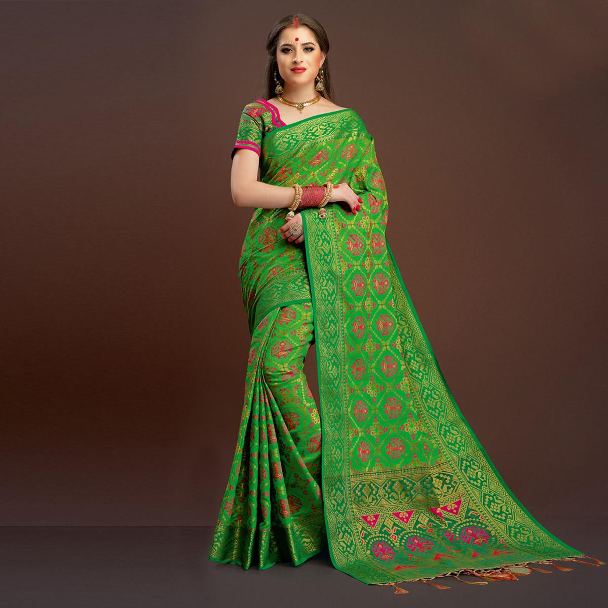 Eye-Catching Teal Colored Festive Wear Silk Woven Saree