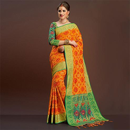 Groovy Orange Colored  Festive Wear Silk Woven Saree