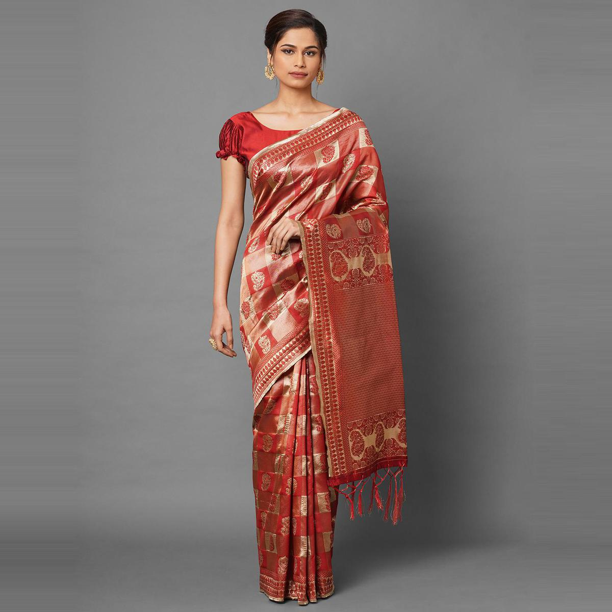 Saree Mall Red Festive Wear Silk Blend Woven Paisley Designer Saree With Unstitched Blouse