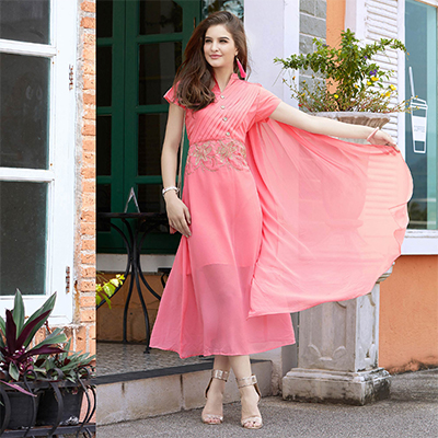 Pretty Pink Fancy Embroidered Georgette Kurti