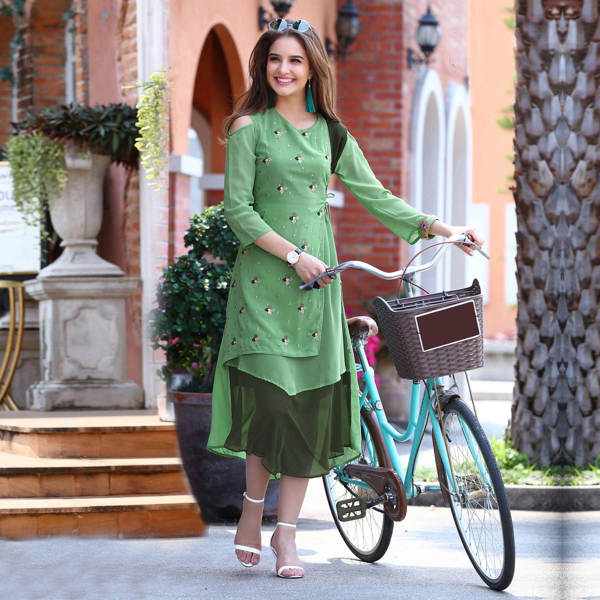 Classy Pista Green Designer Embroidered Georgette Kurti