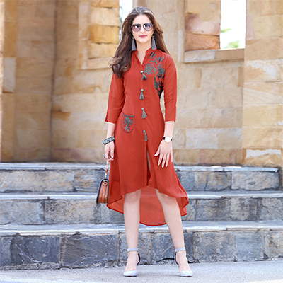 Stylish Brown Fancy Embroidered Georgette Kurti
