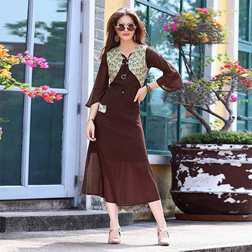 Pretty Brown Designer Embroidered Georgette Kurti