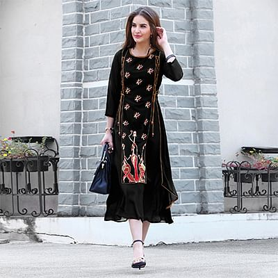 Trendy Black Fancy Embroidered Georgette Kurti