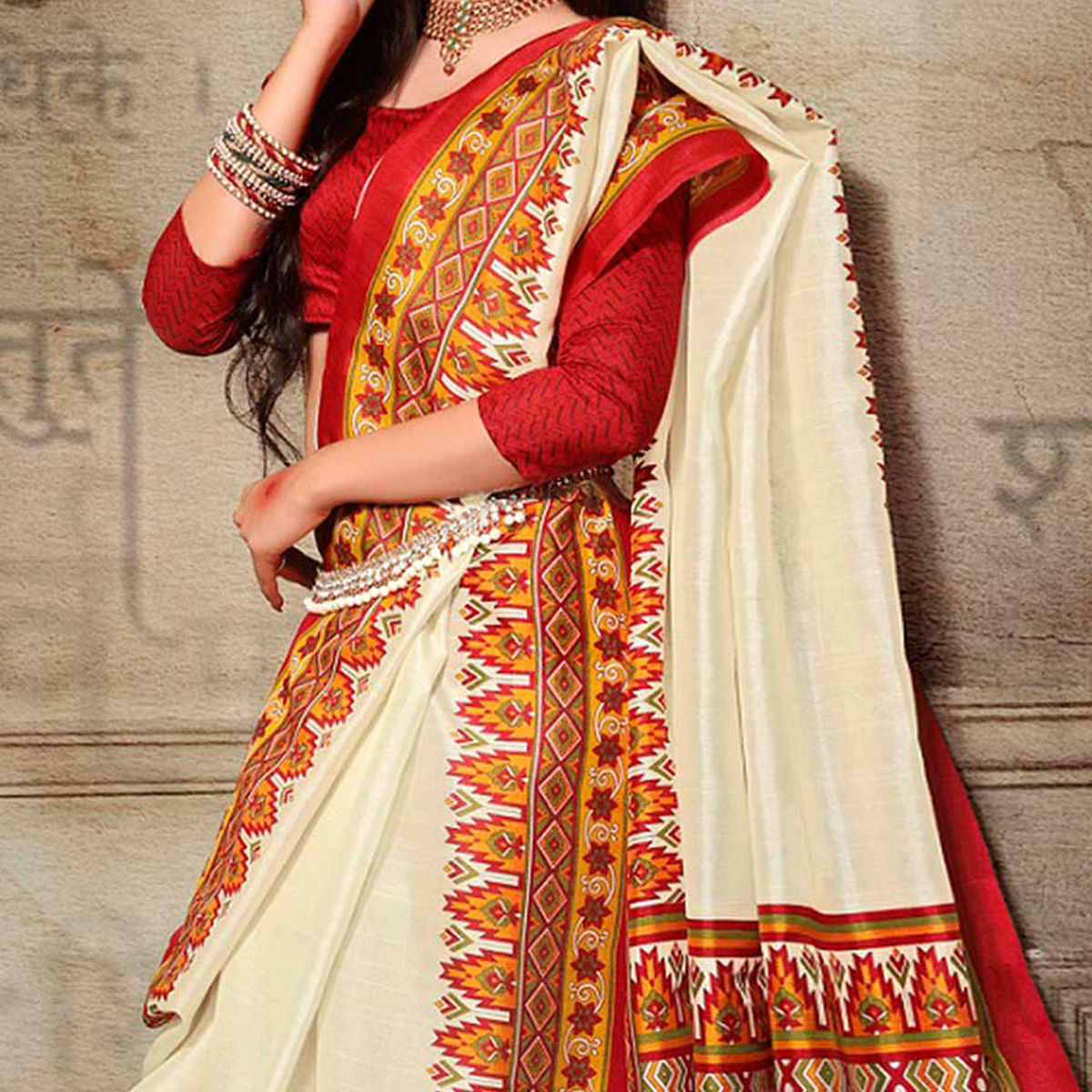 Off White Printed Bhagalpuri Saree
