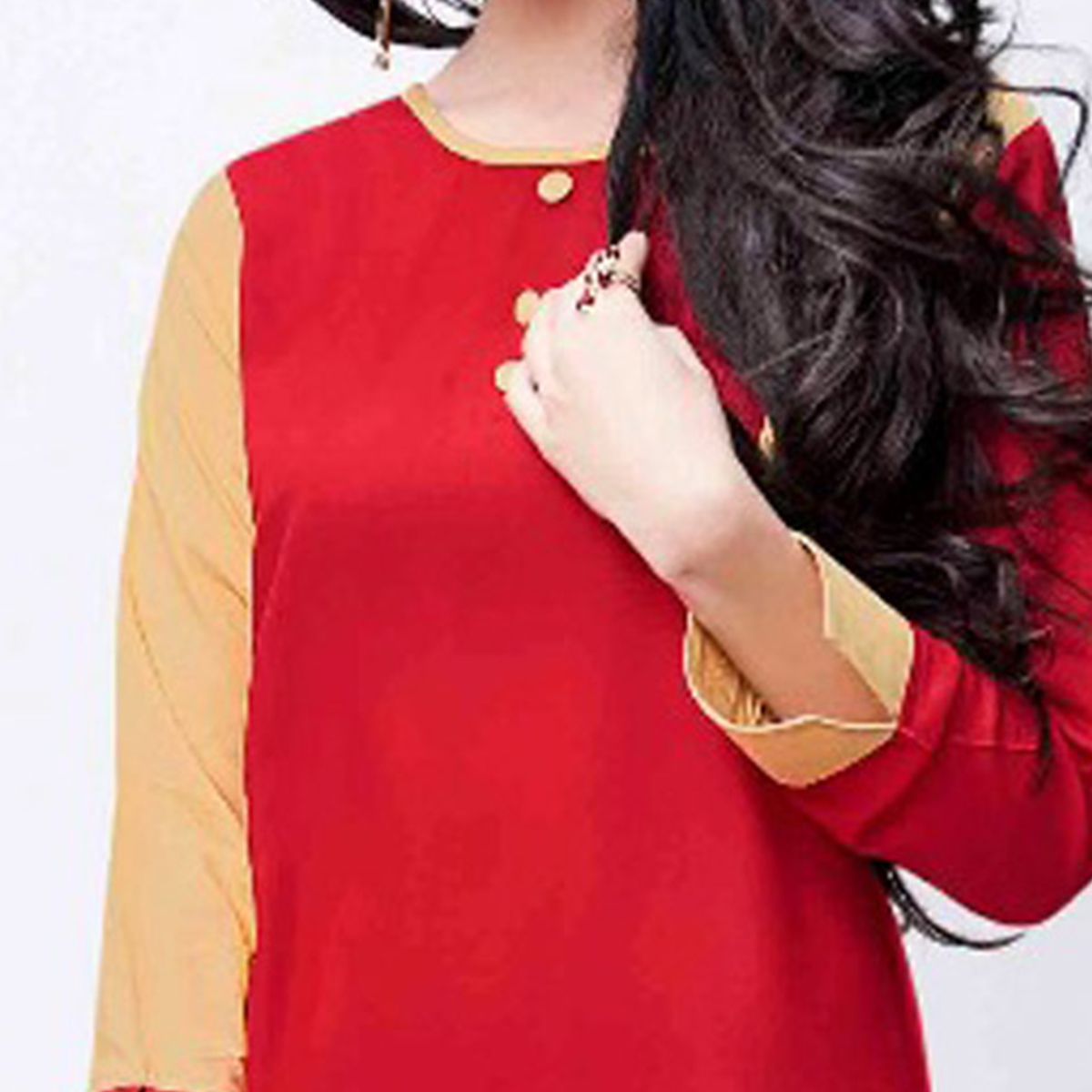 Classy Red Colored Fancy Rayon Kurti