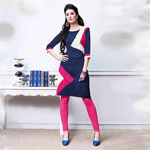 Attractive Navy Blue Colored Fancy Rayon Kurti