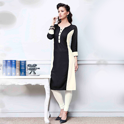 Eye-Catching Black-Off white Colored Fancy Rayon Kurti