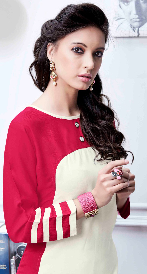Dazzling Red-Cream Colored Fancy Rayon Kurti