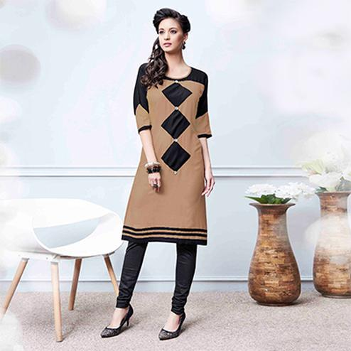 Elegant Beige Colored Fancy Rayon Kurti