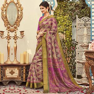 Appealing Beige - Purple Colored Festive Wear Kanjivaram Silk Saree