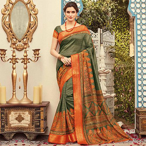 Marvellous Olive Green Colored Festive Wear Kanjivaram Silk Saree
