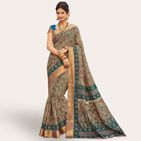 Elegant Beige - Rama Green Colored Festive Wear Kanjivaram Silk Saree