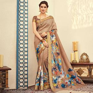 Classy Beige Colored Festive Wear Kanjivaram Silk Saree