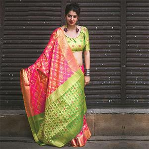 Elegant Pink Colored Festive Wear Designer Woven Patola Silk Sare